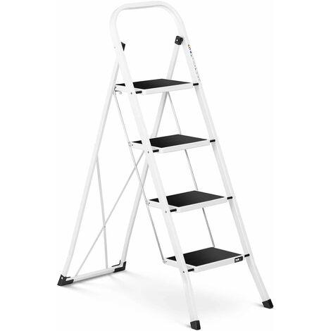 Escabeau pliant 2/niveaux /échelle Blanc avec coussins en plastique Escabeau acier Escabeau 2/marches rigide avec /échelle multifonction Escabeau m/énager /échelle Escabeau Marchepied
