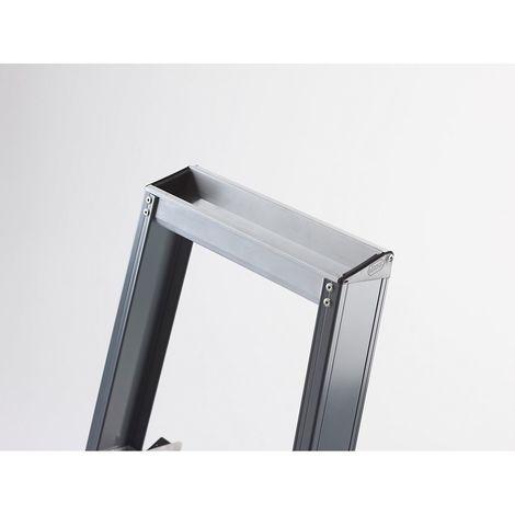 Escabeau à marches en aluminium, accès un côté, avec bac porte-outils 6 marches, hauteur de travail 3400 mm