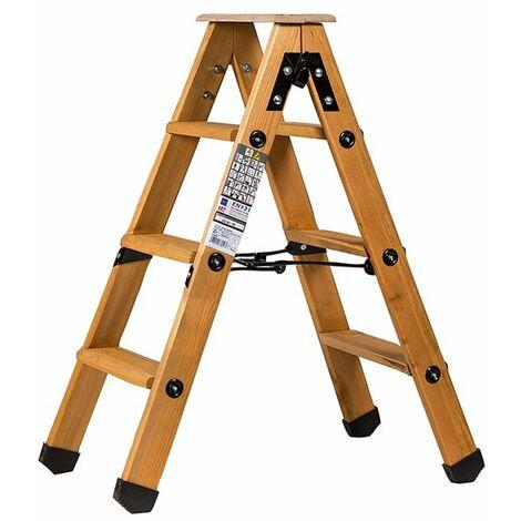 Escabeau double accès bois 2x3 marches + tablette - hauteur de travail 2,25m