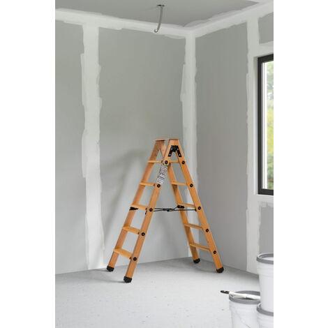 Escabeau double accès bois 2x5 marches + tablette - hauteur de travail 2,65m
