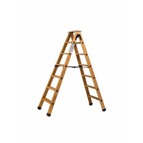 Escabeau double accès bois 2x6 marches + tablette CENTAURE - 483606