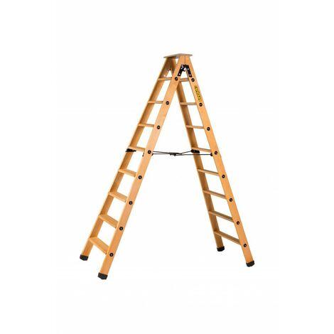 Escabeau double accès bois 2x8 marches + tablette - hauteur de travail 3,25m