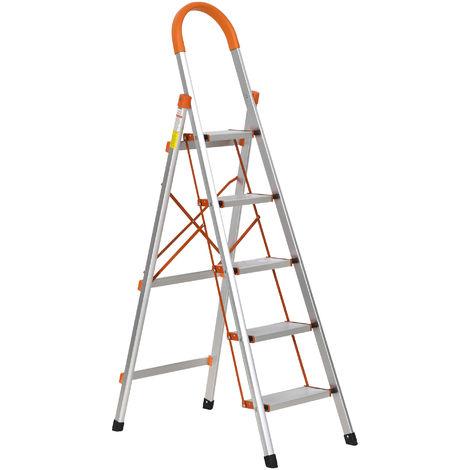 Escabeau pliable 5 marches antidérapantes hauteur max. 1,17 m charge max. 150 Kg alu. orange