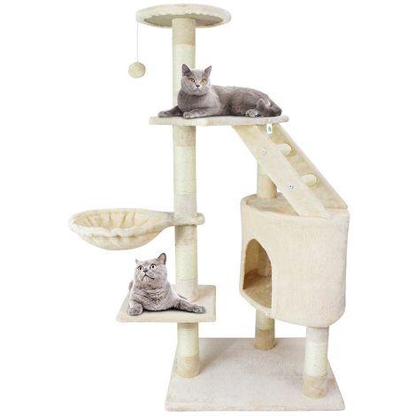 Escalador para Gatos, Árbol para Gatos, 120 cm, 5 plataformas, Beige, Material: MDF