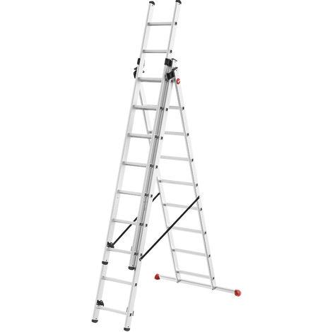 Escalera 3 tramos combinada estabilizador recto - aluminio - ProfiStep® Combi - P7-01-007-V02