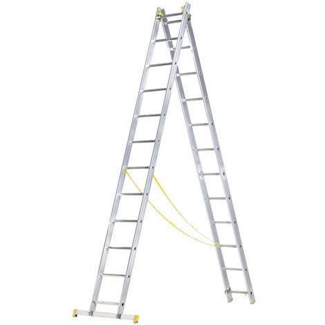Escalera Aluminio 2 Tramos 12+12 Peldaños