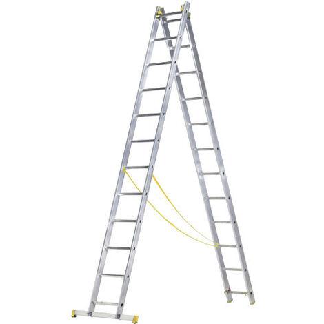 Escalera Aluminio 2 Tramos 7+7 Peldaños. Plegable, Antideslizante, Resistente