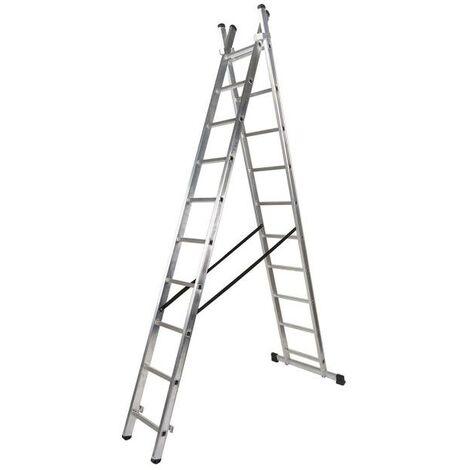 Escalera aluminio 2 tramos 9+9 peldaños
