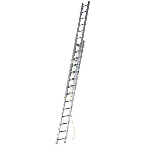 Escalera Aluminio 2 Tramos Mecanica 14 Peldaños. Plegable, Telescópica, Antideslizante, Resistente