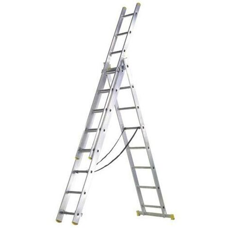 Escalera aluminio 3 tramos 9 + 9 + 9 peldaños