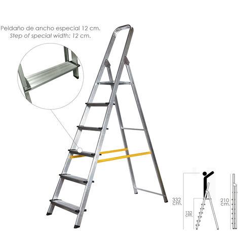Escalera Aluminio Doméstica Profesional 6 Peldaños (Peldaño de 12 cm.)