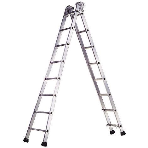 Escalera Aluminio Industrial Pronor 2 Tramos 7+7 Peldaños