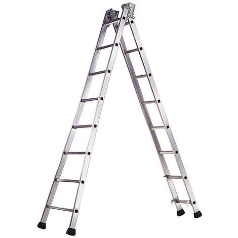 Escalera Aluminio Industrial Pronor 2 Tramos 8+8 Peldaños