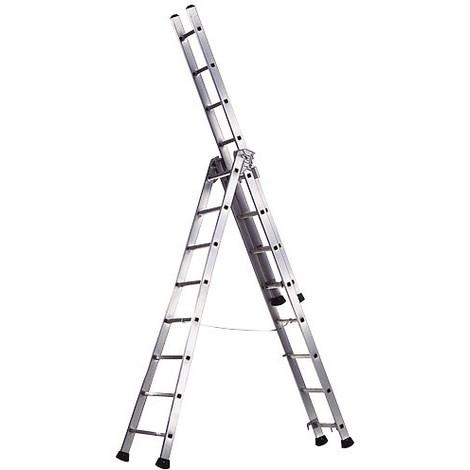 Escalera Aluminio Industrial PRONOR 3 Tramos 7 Peldaños