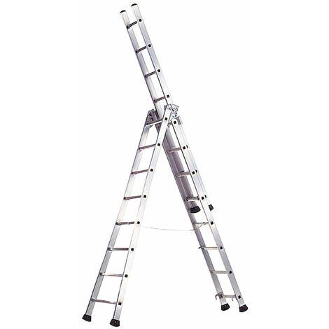 Escalera Aluminio Industrial Pronor 3 Tramos.10+10+10 Peldaños