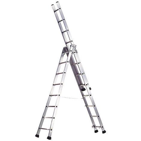 Escalera Aluminio Industrial Pronor 3 Tramos.12+12+12 Peldaños