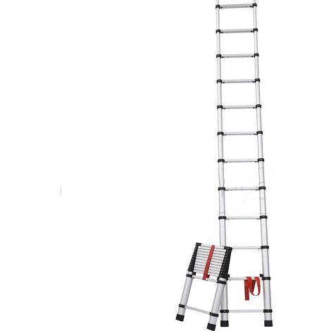 Escalera aluminio Pro Telescópica 9 pasos 2,46 Mt