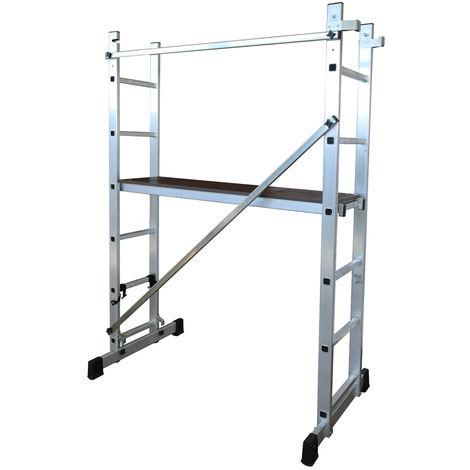 Escalera - Andamio profesional de Aluminio MULTIUSOS 2 x 6 peldaños