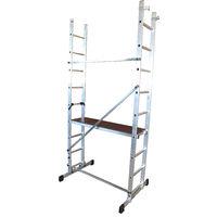 Escalera - Andamio profesional de Aluminio MULTIUSOS 2 x 9 peldaños