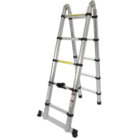 Escalera Articulada, Aluminio, 5 + 5 Peldaños, 3.16m - MADER® | Hardware