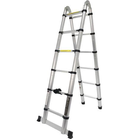 Escalera Articulada, Aluminio, 6 + 6 Peldaños, 3.80m - MADER® | Hardware