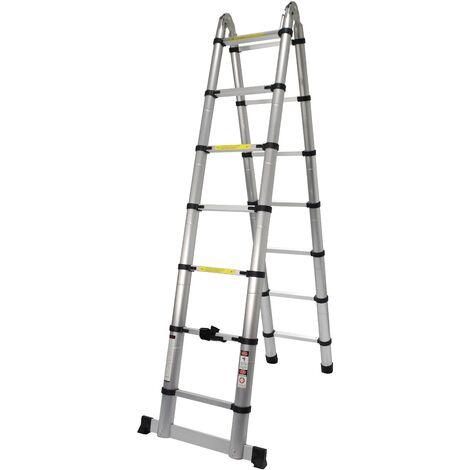 Escalera Articulada, Aluminio, 7+7 Peldaños, 4.40m - MADER® | Hardware
