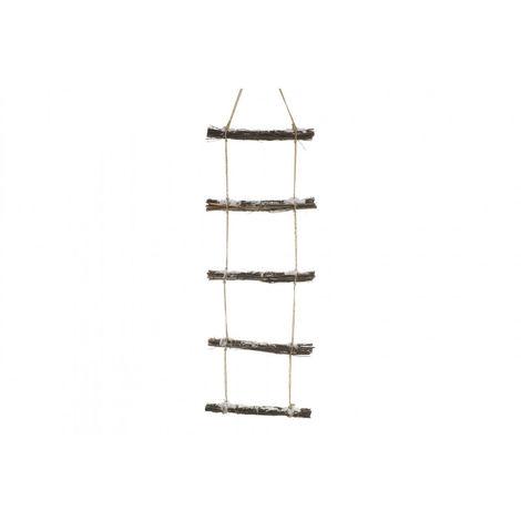Escalera Colgante de Madera Natural y Cuerda con acabado Nevado, hecho de finos Troncos, para Decoración Navideña - Hogar y Más