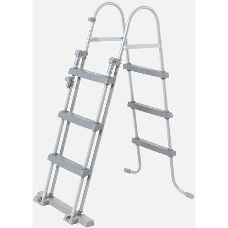 Escalera con 4 peldaños para piscinas de hasta 122 cm de altura, accesorio para piscinas
