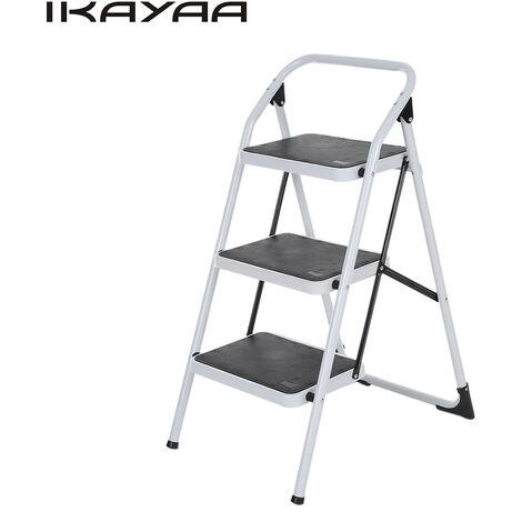 Escalera de 3 escalones plegable antideslizante iKayaa con marco de hierro de agarre manual Taburete portatil con capacidad 330LB / 150KG para usos multiples Aprobado por EN131