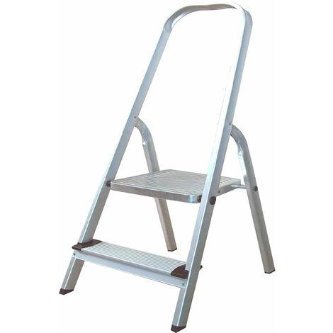 Escalera de Aluminio 2 Peldaños Catter House Alt. Máx. Trabajo 239 cm Plegable con Barandilla