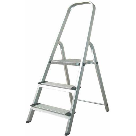 Escalera de Aluminio 3 Peldaños Catter House Alt. Máx. Trabajo 260 cm Plegable con Barandilla