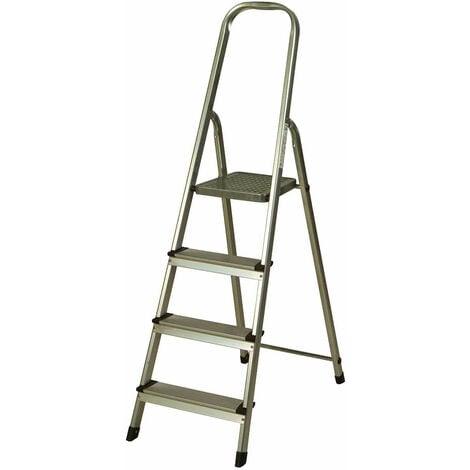 Escalera de Aluminio 4 Peldaños Catter House Alt. Máx. Trabajo 284 cm Plegable con Barandilla