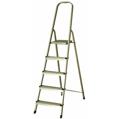 Escalera de Aluminio 5 Peldaños Catter House Alt. Máx.Trabajo 307 cm Plegable con Barandilla