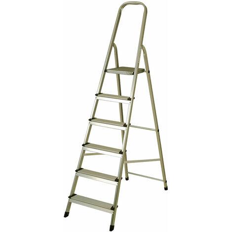 Escalera de Aluminio 6 Peldaños Catter House Alt. Máx. Trabajo 330 cm Plegable con Barandilla