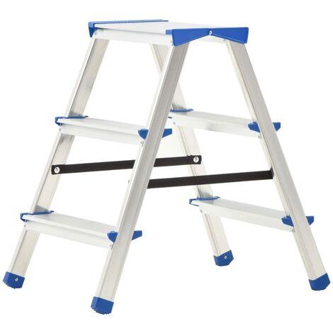 Escalera de aluminio doble cara 3 peldaños 67 cm