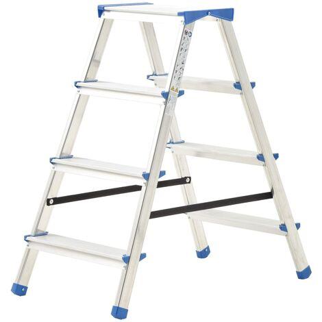 Escalera de aluminio doble cara 4 peldaños 90 cm