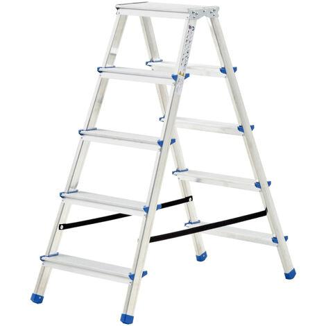 Escalera de aluminio doble cara 5 peldanos 113 cm