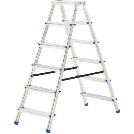 Escalera de aluminio doble cara 6 peldaños 136 cm