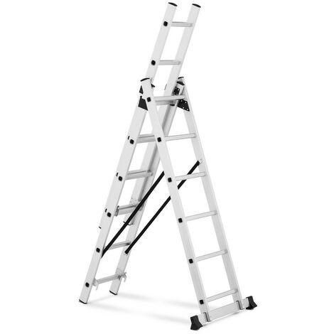 Escalera De Aluminio Multifunción Con 18 Escalones Altura Regulable Hasta 3,38 m