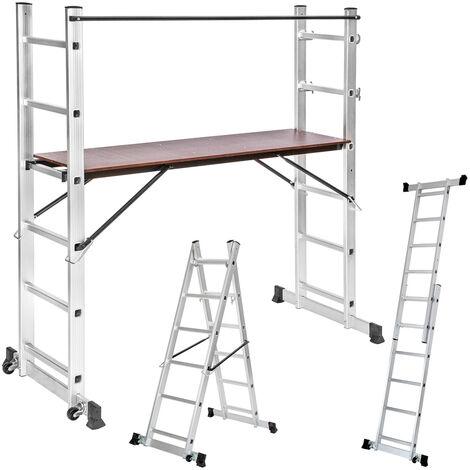 Escalera de aluminio multiusos - escalera telescópica con ruedas, escalera con andamio y bisagra de seguridad, escalera extensible para taller - plata
