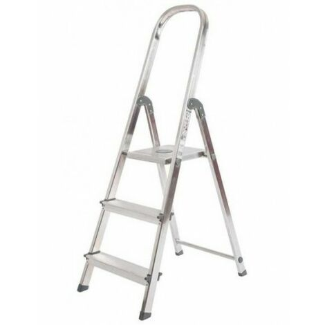 Escalera de Aluminio Plegable con 3 Peldaños Anchos, con Apoyabrazos. Tacos Antideslizantes y Sistema de Seguridad