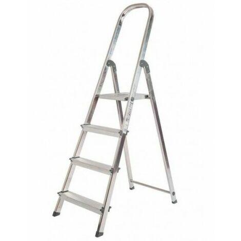 Escalera de Aluminio Plegable con 4 Peldaños Anchos, con Apoyabrazos. Tacos Antideslizantes y Sistema de Seguridad