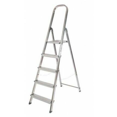 Escalera de Aluminio Plegable con 5 Peldaños Anchos, con Apoyabrazos. Tacos Antideslizantes y Sistema de Seguridad