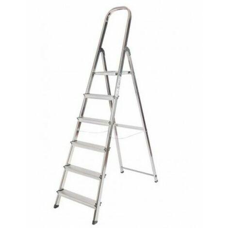Escalera de Aluminio Plegable con 6 Peldaños Anchos, con Apoyabrazos. Tacos Antideslizantes y Sistema de Seguridad