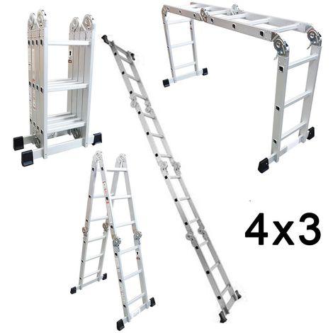 Escalera de Aluminio Plegable Multifuncional 4x3 (12 Peldaños)