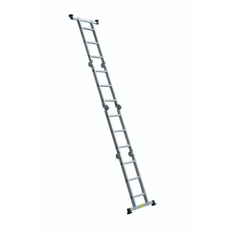 Escalera de Aluminio Profesional Articulada Catter House Multiusos 4x3 Peldaños Altura Máxima de Trabajo 498 cm