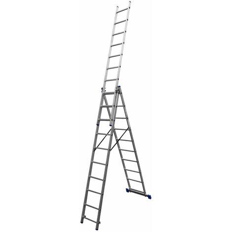 Escalera de Aluminio Profesional Transformable Catter House 3x10 Peldaños Altura Máxima de Trabajo 748 cm