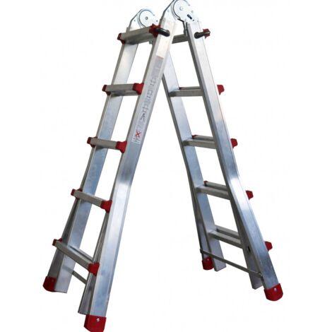 """main image of """"Escalera de aluminio telescópica plegable multiusos, apertura en tijera, multfuncional 4+4 en dos tramos ( hasta 8+8 peldaños) Certificación EN-131"""""""