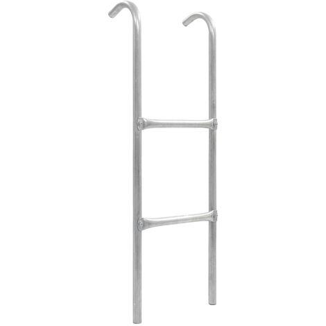 Escalera de cama elástica de 2 peldaños acero plateado 102,6 cm