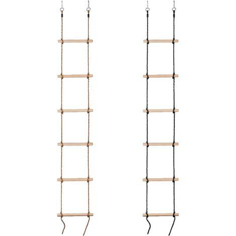 Escalera de Cuerda 6 Peldaños de Madera para Niños   Gimnasia Escalada Columpio - Cuerda Negra